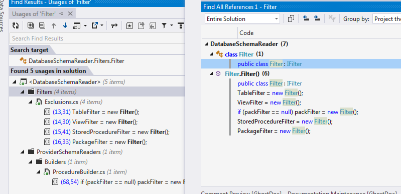 Find All References - Resharper (left), VS2017 (right)